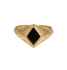 Quinn Signet Onyx Inlay Ring in 14k Gold