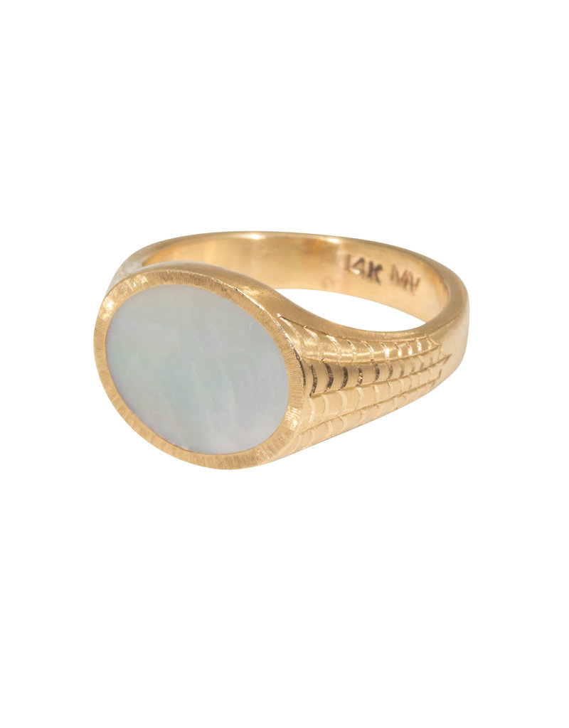 Mother of Pearl Inlay Signet Spider Web Pattern Ring in 14k Gold