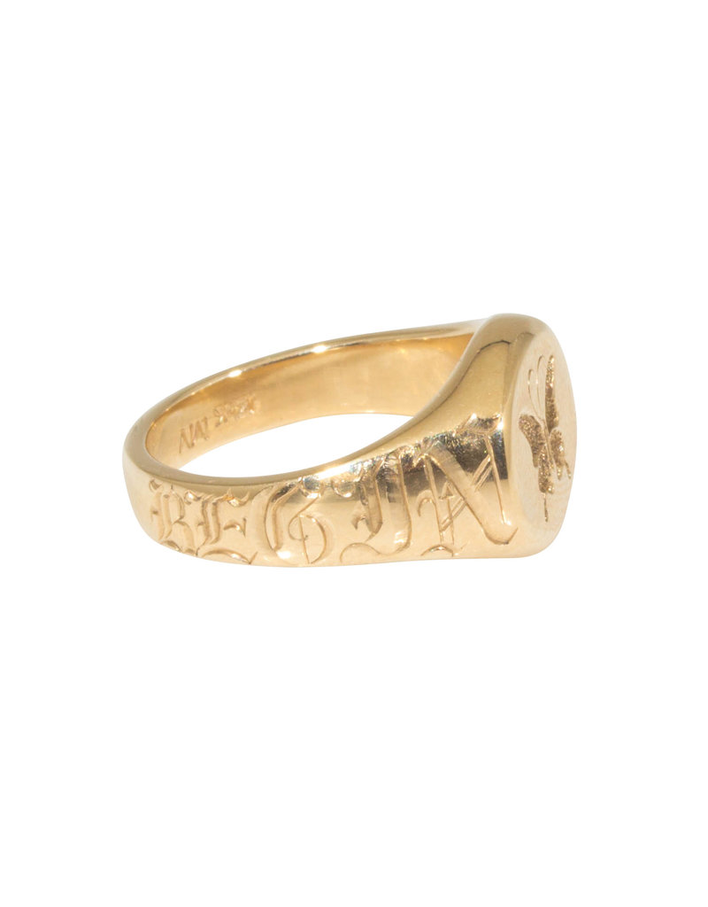 Begin Again Butterfly Engraved Signet Ring in 14k Gold