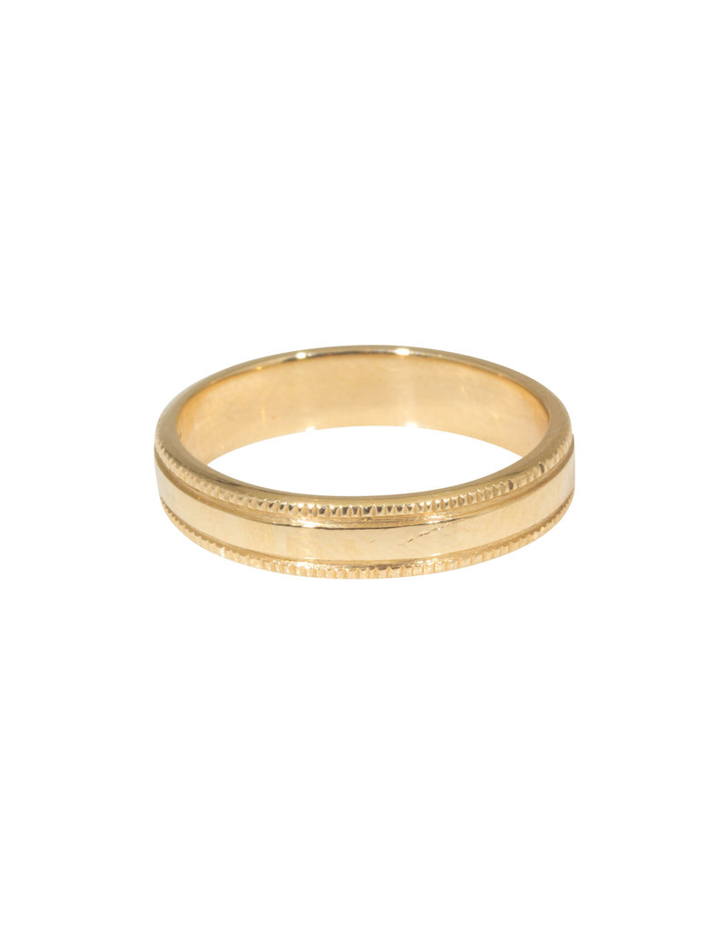 Millgrain ring Band in 14k Gold