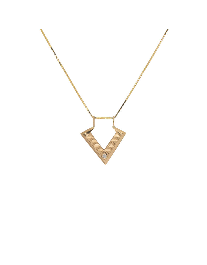 Deco Pendant in 14k Gold with White Diamond