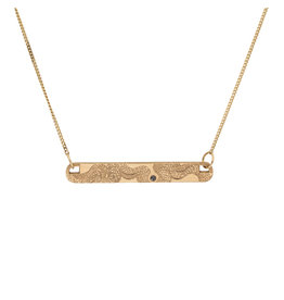 Infinity Snake ID Necklace in 14k Gold with Black Diamond
