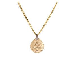 Hoju Pendant in 14k Gold with Black Diamonds