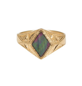 Tahitian Mother of Pearl Quinn Signet Ring in 14K Gold