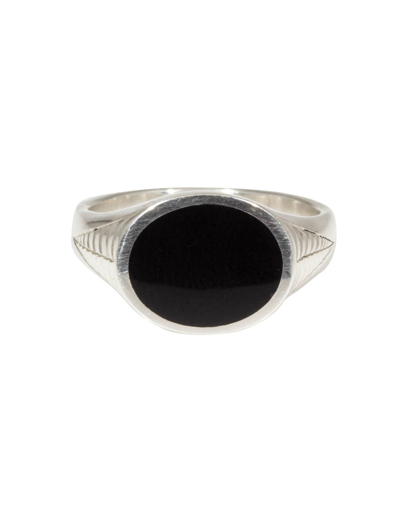 Oval Onyx Ring in Silver with Spider Web Engraving