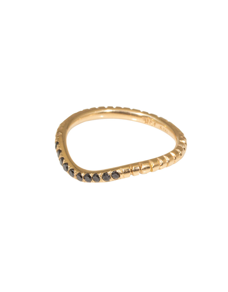 Notched Fitted Black Diamond Pave Band