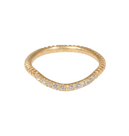 Notched Fitted White Diamond Pave Band