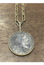 Hobo Nickel Memento Mori Engraved Pendant Wrapped in 22k Gold