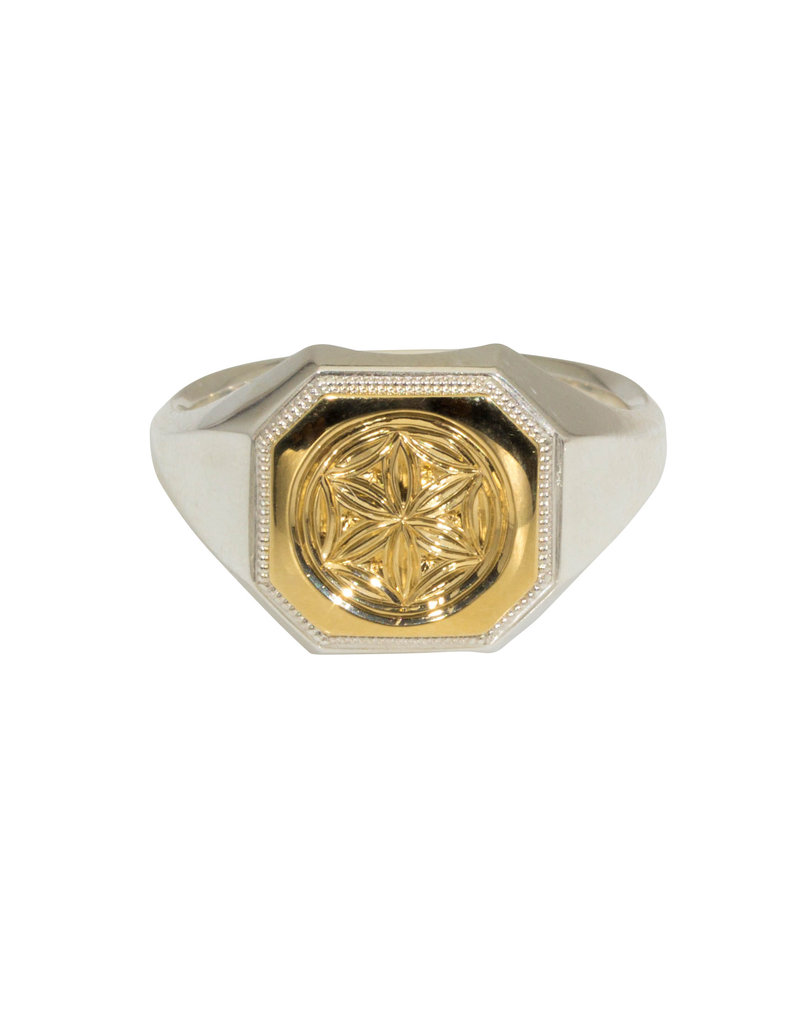 Engraved Gold Top Signet Ring