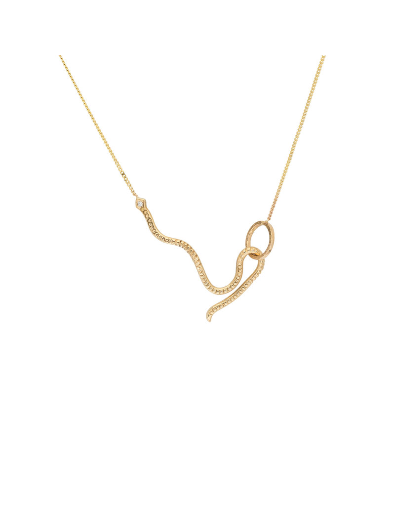 Snake Hook Necklace in 14k Gold with White Diamond