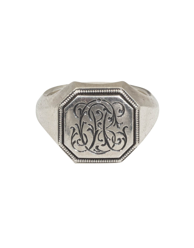 Engraved Silver Top Signet Ring