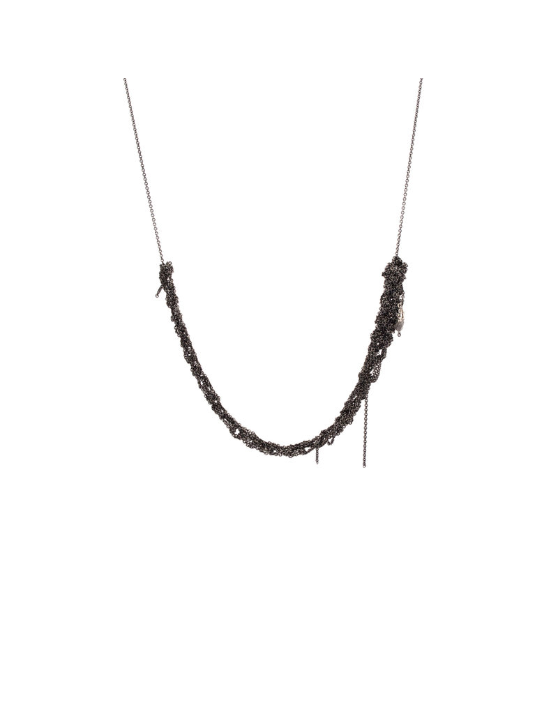 The Skinny Necklace in Oxidized Silver & Stainless Steel
