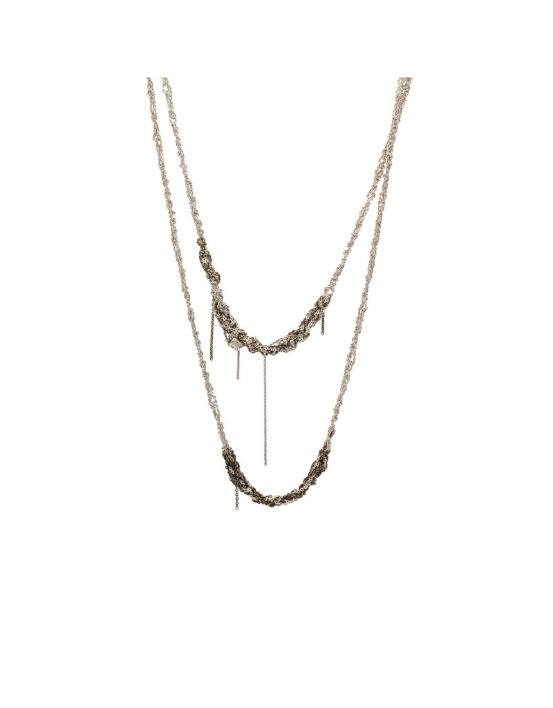 Melded Simple Necklace in Oxidized Silver & Gold Vermeil