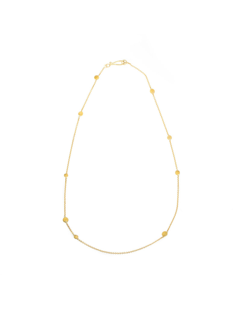 Koburi Chain Necklace 18k Yellow Gold 22k Gold Dots 18""