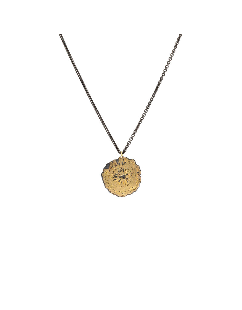 Poppy Flower Pendant in 18k Yellow Gold and Silver