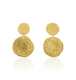 Keum-boo disc Post Earrings in 24k Yellow Gold & Silver