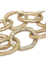 Chunky Link Bracelet In Golden Bronze with White Sapphires
