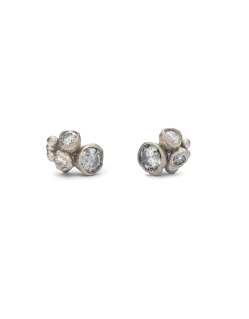 Grey Diamond Cluster Post Earrings in 18k Warm White Gold