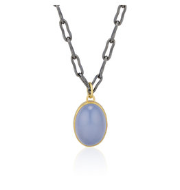 Blue Chalcedony Cabochon Pendant in 22k and Silver