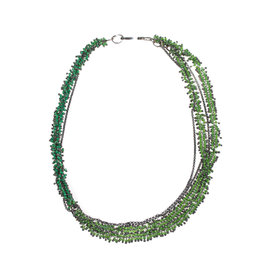 Green Seed Beads Necklace with Oxidized Silver