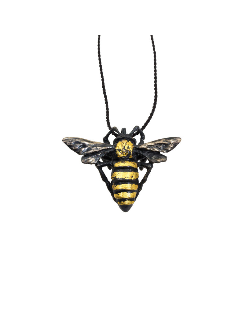 Honey Bee Pendant in Oxidized Silver with 23k Gold Leaf