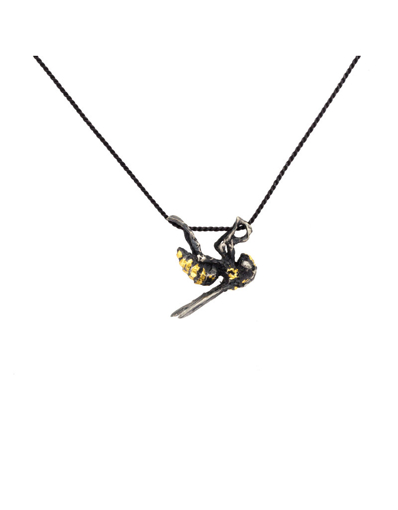 Golden Solitary Wasp Pendant
