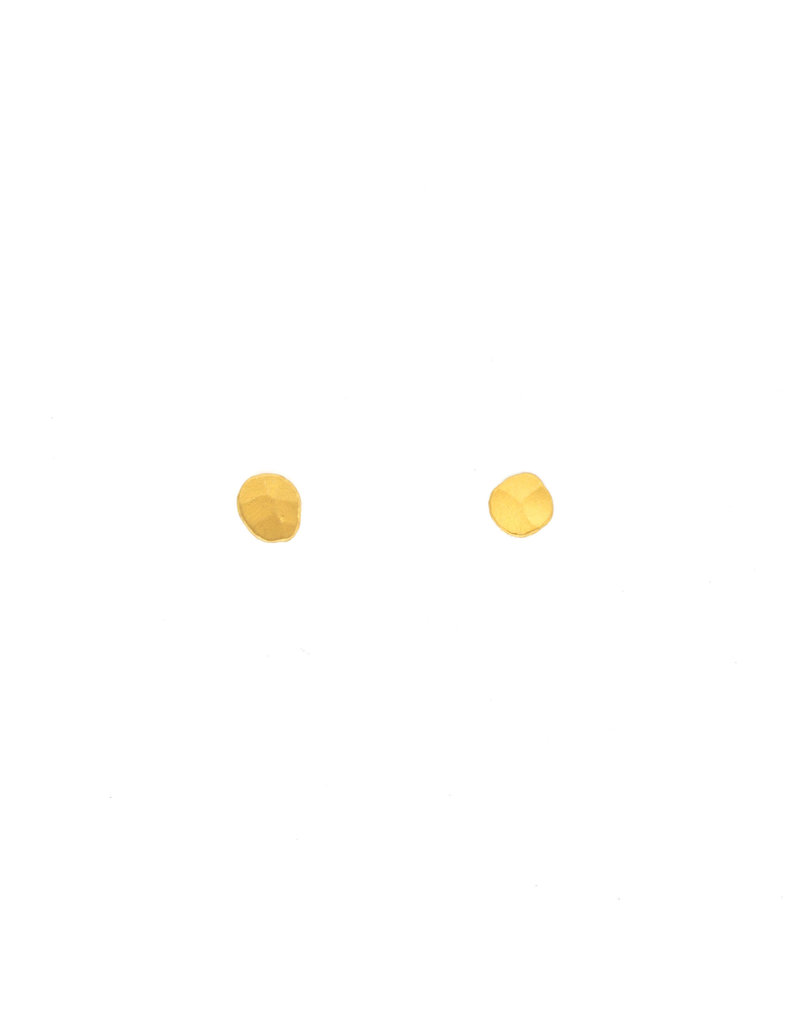 Hammered Post Earrings in 24k Gold