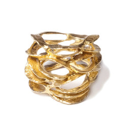 Banksia Lace Ring in Yellow Bronze