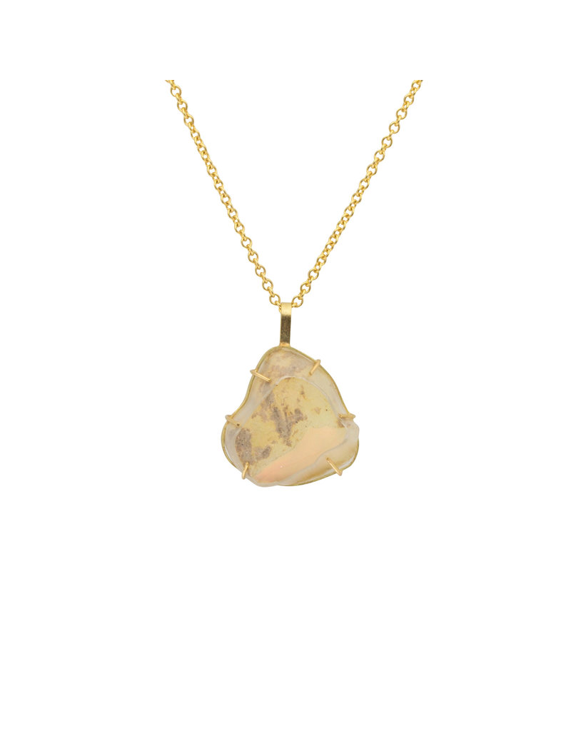 Ethiopian Opal Pendant on 18k Gold Chain - Large