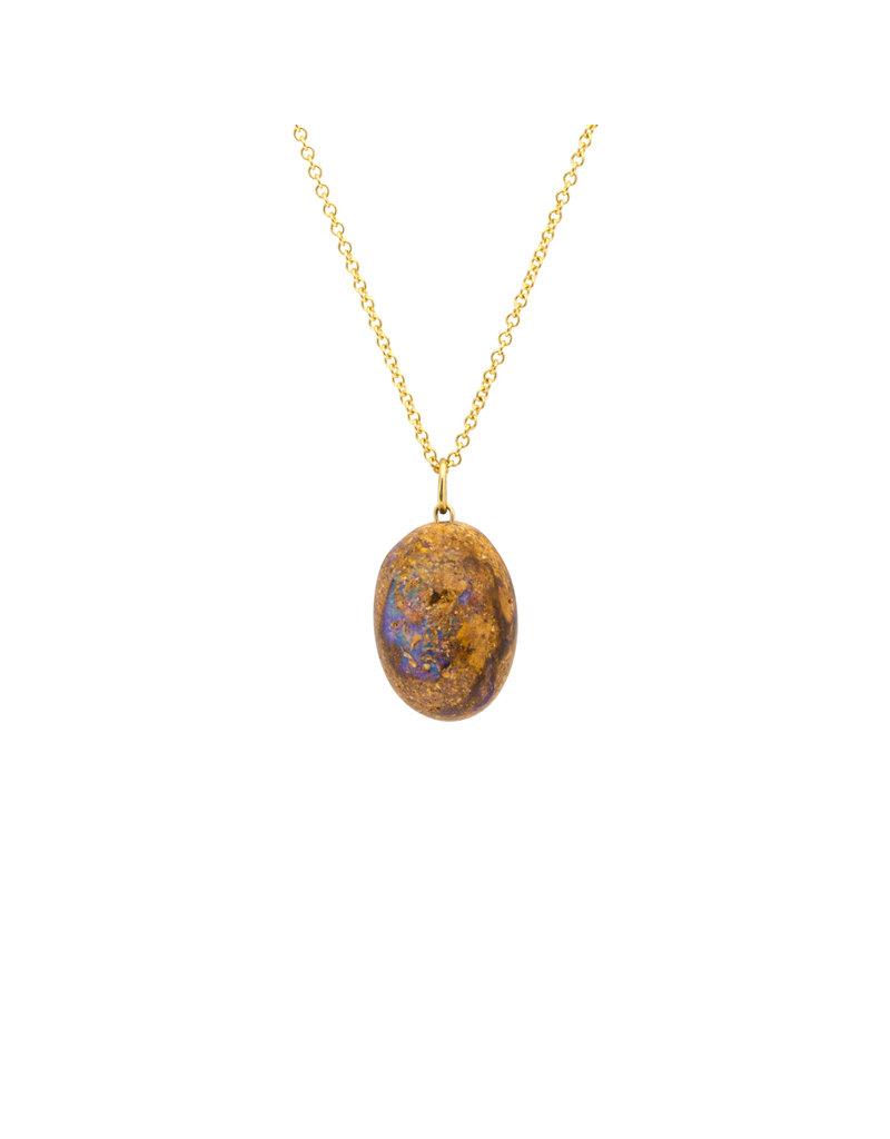 Australian Opal Egg Pendant on 18k Gold Chain