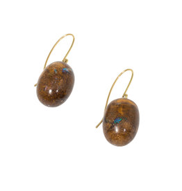 Australian Opal Egg Earrings with 18k Yellow Gold