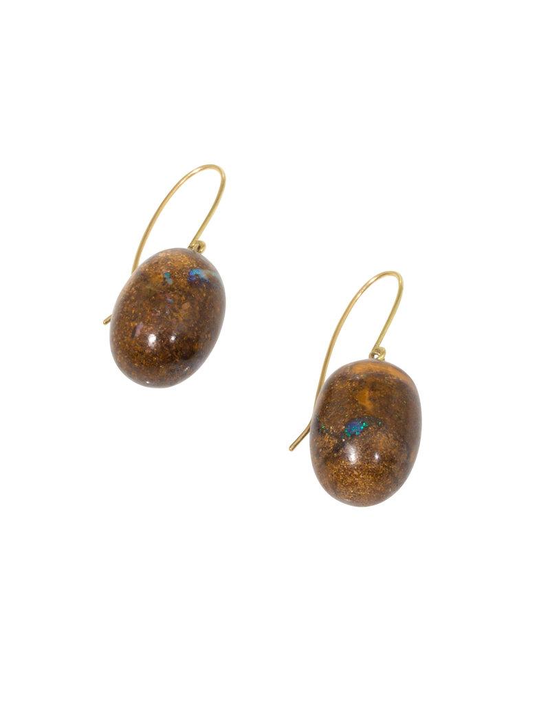 Australian Opal Egg Earrings with 18k Yellow Gold