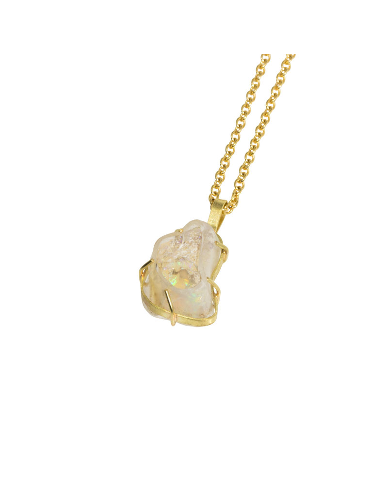 Ethiopian Opal Pendant on 18k Gold Chain - Small