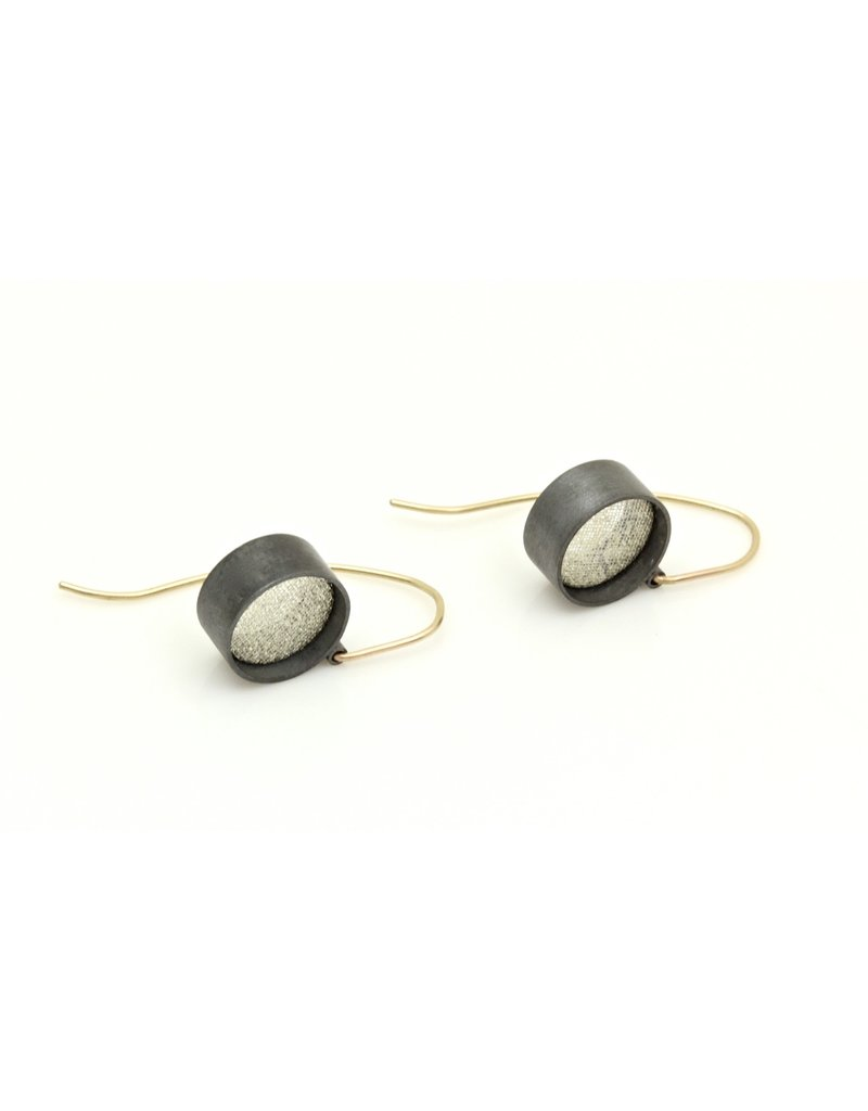 Small White Silk and White Gold Leaf Dangle Earrings