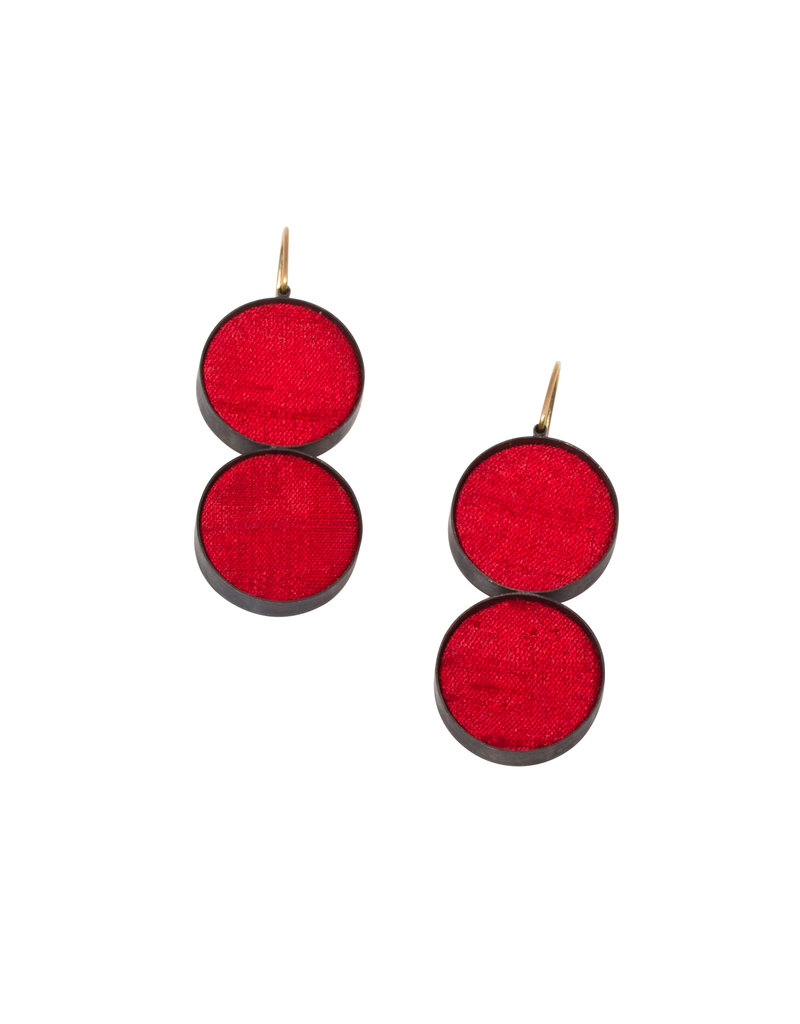 Double Medium Red Silk Dangle Earrings