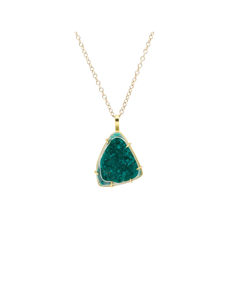Diopstase Druzy 18k Pendant on Silver and 14ky Chain
