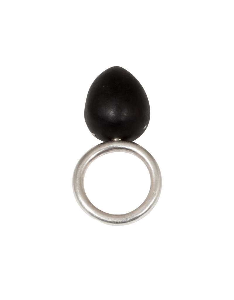 Egg Ring in Ebony and Silver