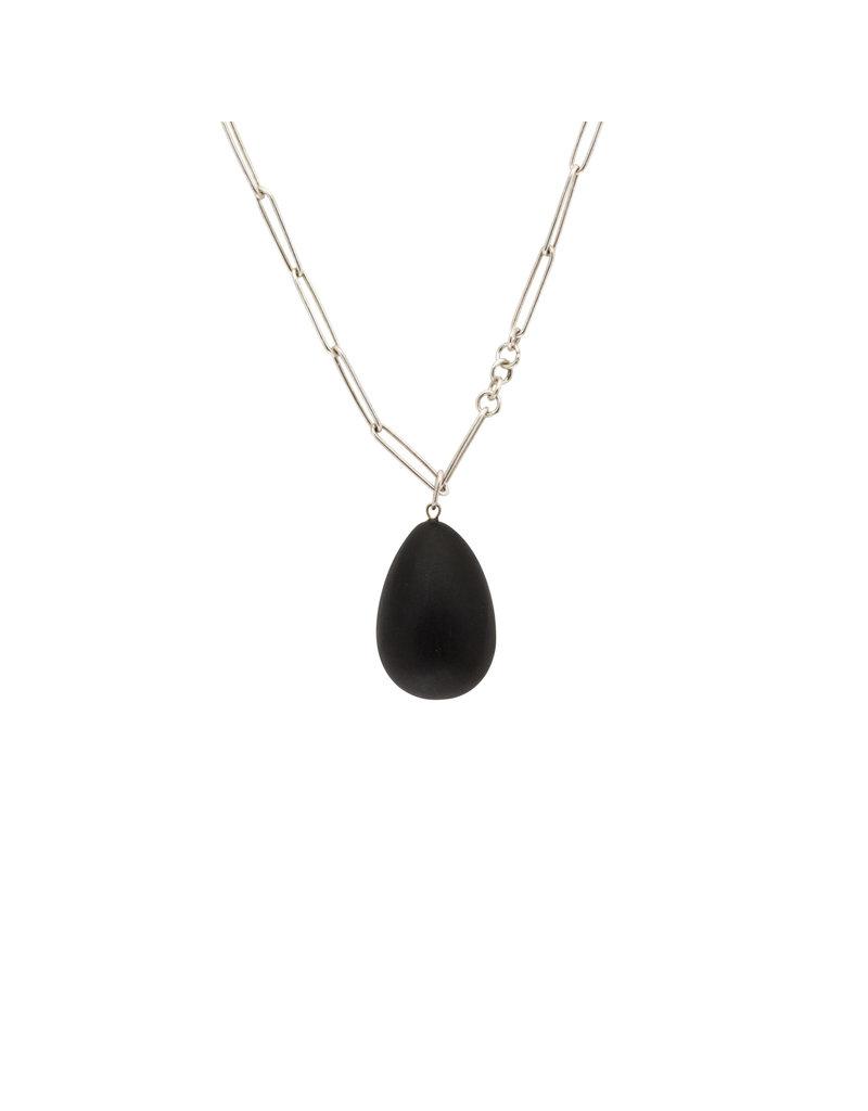 Ebony Egg Pendant on Handmade Chain in silver
