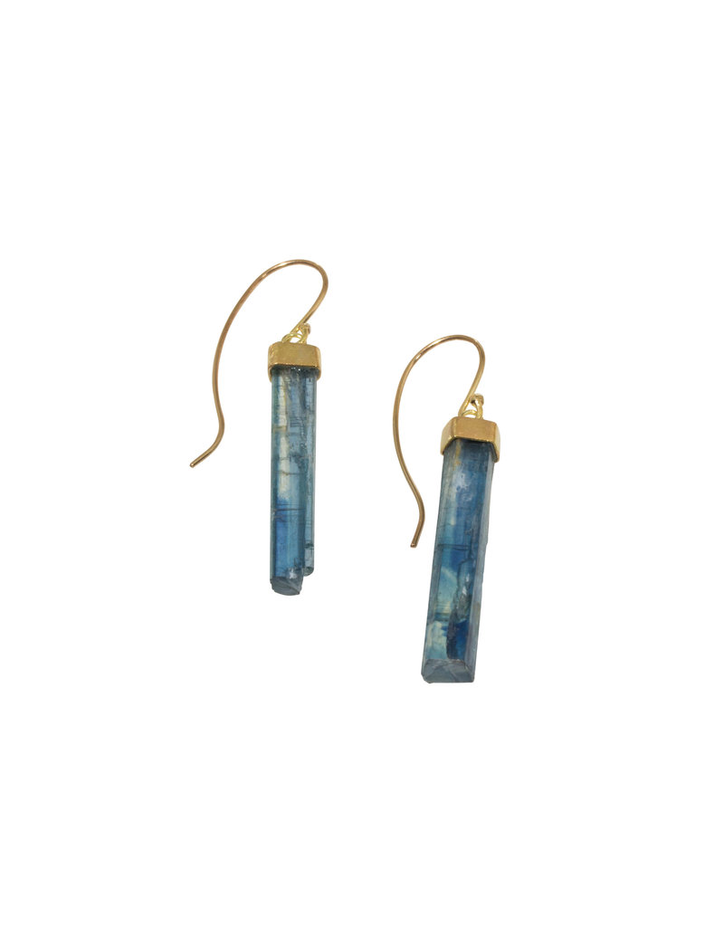 Kyanite Crystal Earrings in 18k and 14k Gold