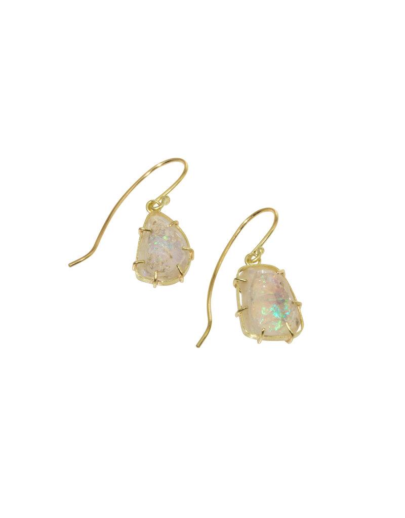 Rouph Ethiopian Opal Earrings in 18k gold