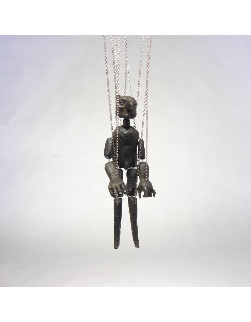 Crow Monster Marionette in Silver and Ebony Wood