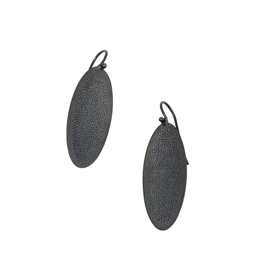 Small Oval Perforated Post Dangle Earrings in Oxidized Silver