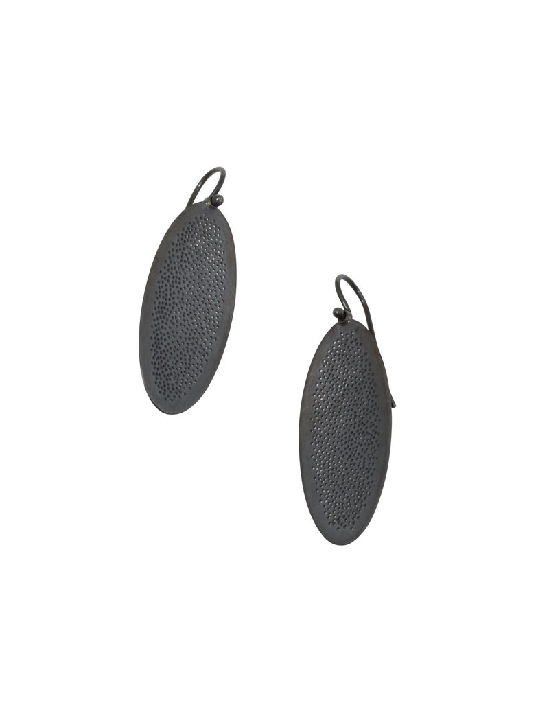 Small Oval Perforated Dangle Earrings in Oxidized Silver