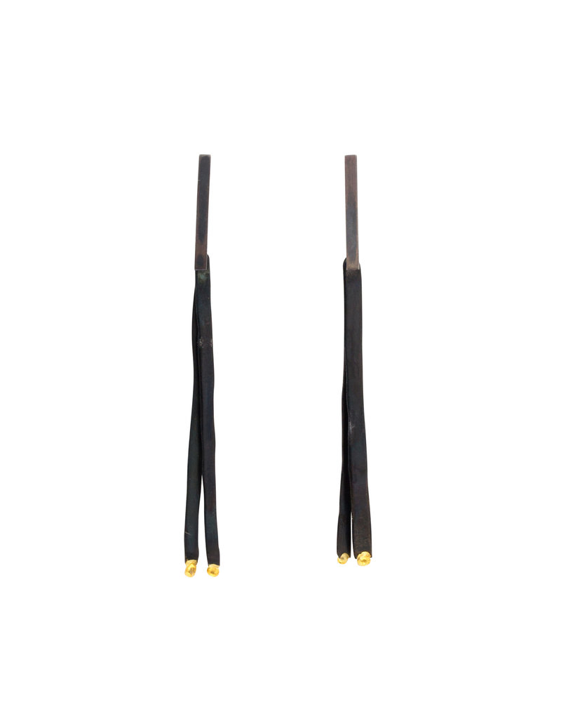 Double Fringe Earrings in Steel and 24k Gold