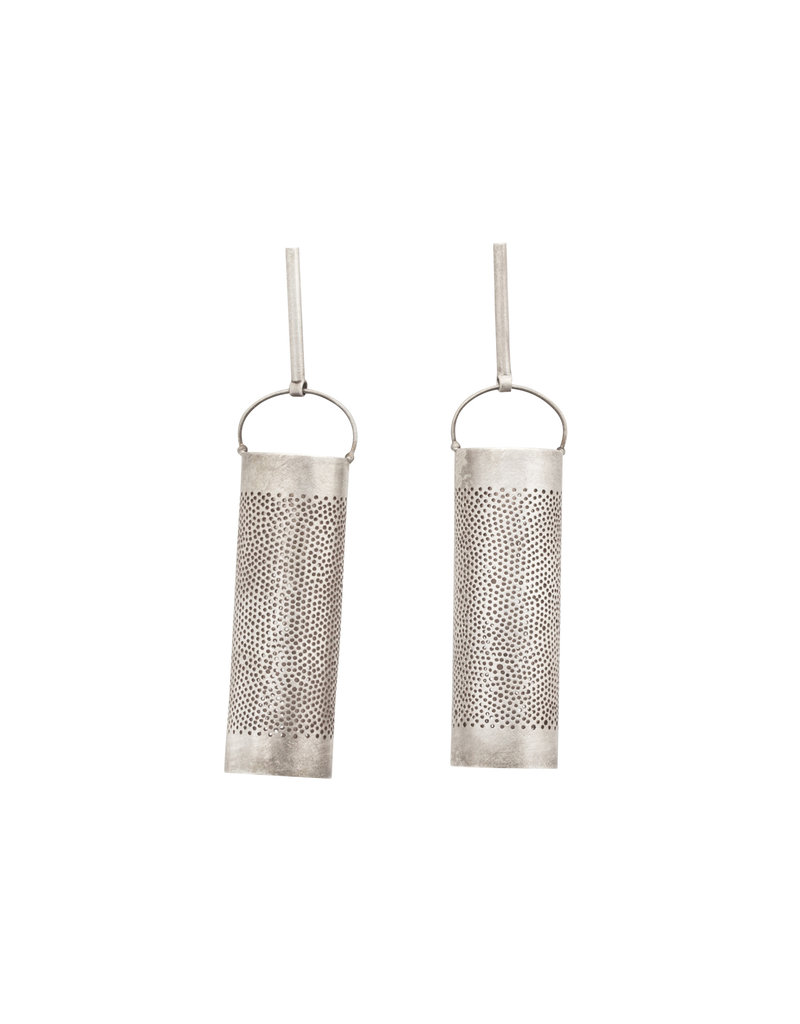 Sterling Silver Perforated Large Cylinder Dangle Earrings