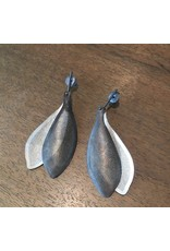 Perforated Leaf Post Dangle Earrings in Oxidized Silver and 10k White Gold