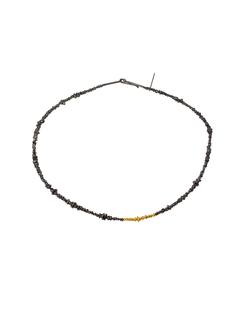 Seed Necklace in 24k Yellow Gold and Oxidized Silver