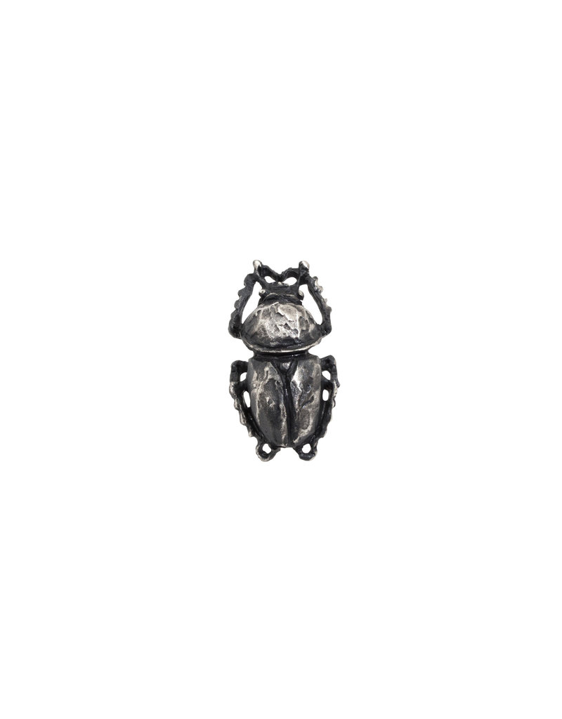 Scarab Beetle Lapel Pin in Oxidized Silver