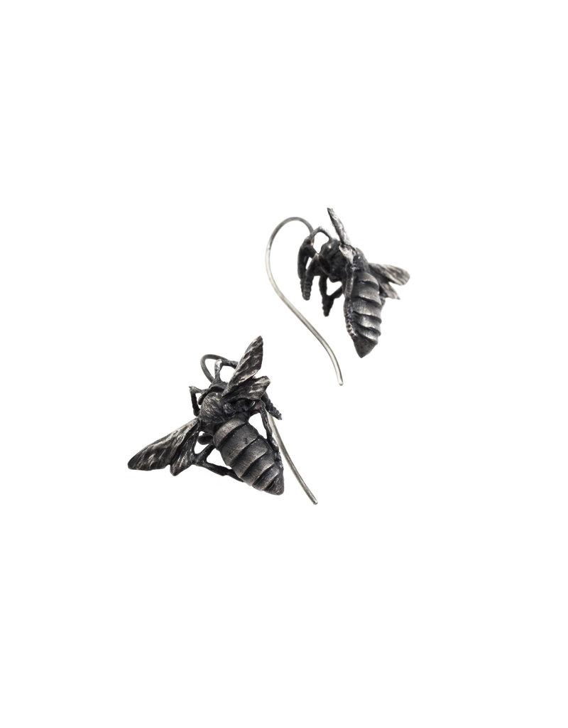 Honey Bee Dangle Earrings in Oxidized Silver