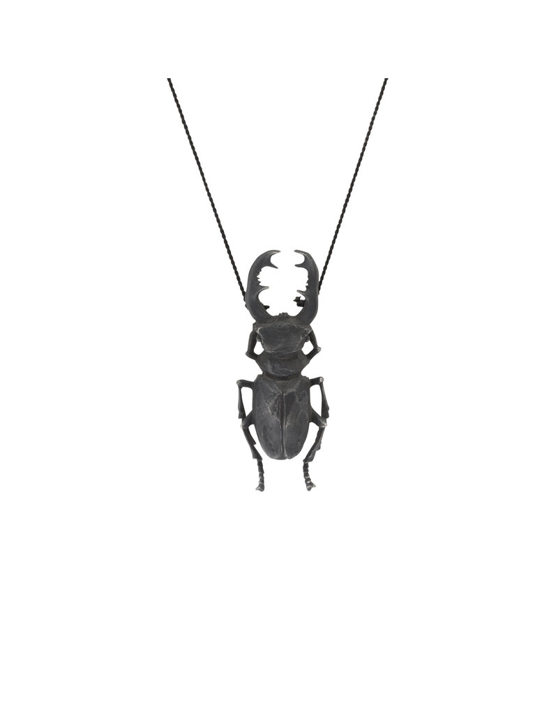 Stag Beetle Pendant in Oxidized Silver
